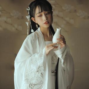 魏晋风对襟汉服古装仙女白色齐腰襦裙中国风广袖流仙裙古风套装夏