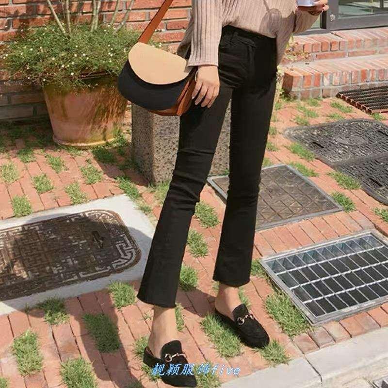 韩国薄款微喇叭牛仔裤女2020高腰弹力九分裤子黑色八分毛边小喇叭