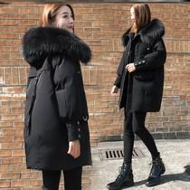 大码女装2020冬装新款时尚中长款棉衣外套胖妹妹显瘦工装羽绒棉服