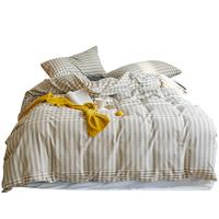 无印良品四件套全棉纯棉100水洗床单被套床笠三件套床上用品4春秋