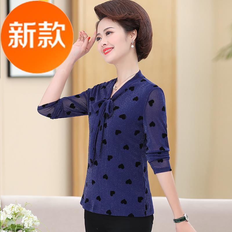 中老年T桖女短款妈妈春装上衣服g2020新款小衫中年妇女长袖打底衫图片