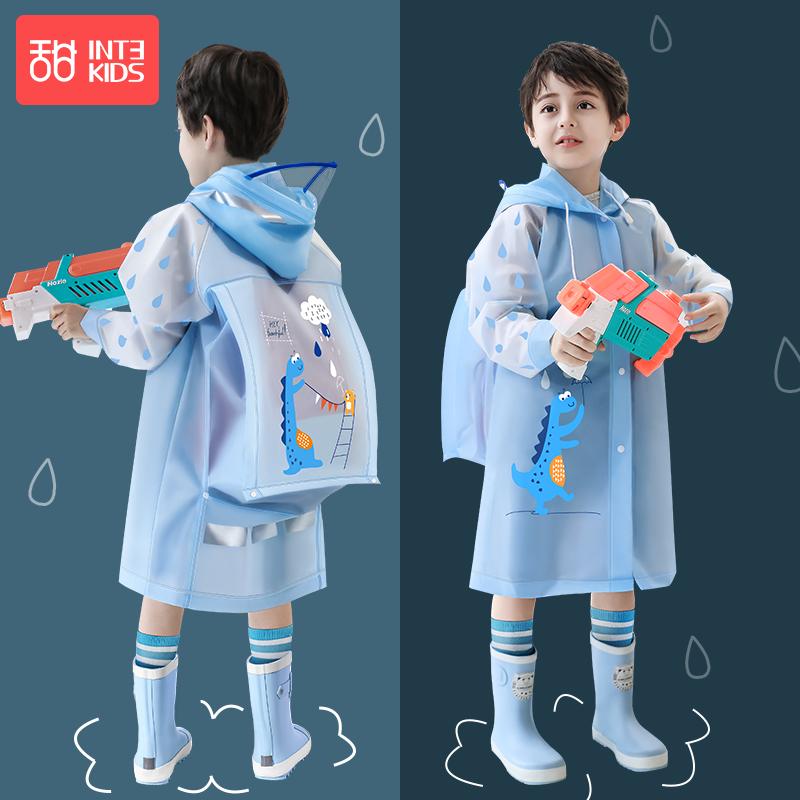 儿童雨衣男童小学生幼儿园带书包位大童防水上学雨披宝宝恐龙雨衣