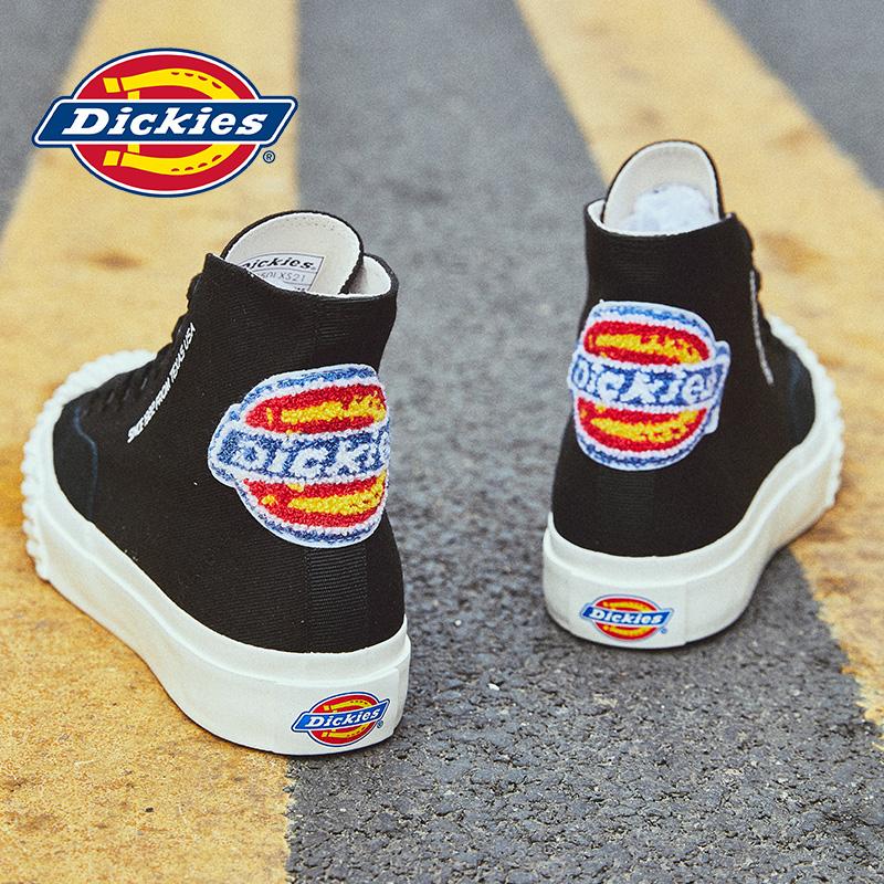 Dickies鞋夏季2021新款高帮帆布鞋男潮运动百搭韩版厚底休闲板鞋