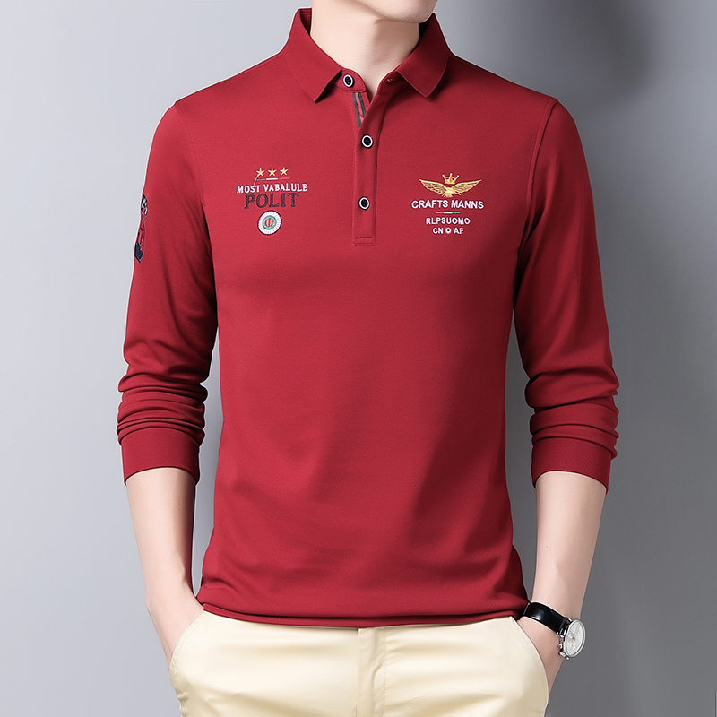 Mens long sleeve T-shirt with embroidered collar in spring and Autumn