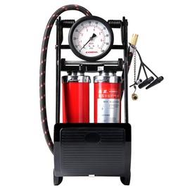 汽车载充气泵脚踩式双缸高压小型加气泵轿车用轮胎脚踏打气筒