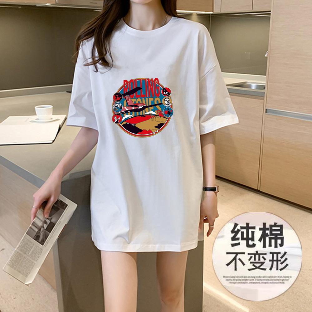 新款纯棉圆领短袖中长款春季潮t恤价格/报价_券后59.9元包邮