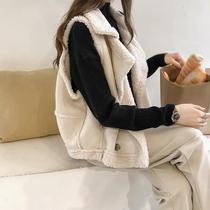 羊羔毛马甲女200斤秋冬新款胖mm大码宽松无袖背心麂皮绒马夹外套