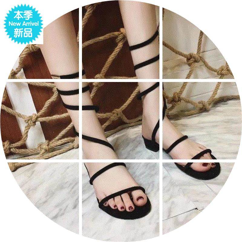 New Roman sandals womens thick heel low heel open toe sandals snake winding thin tape middle tube ankle winding