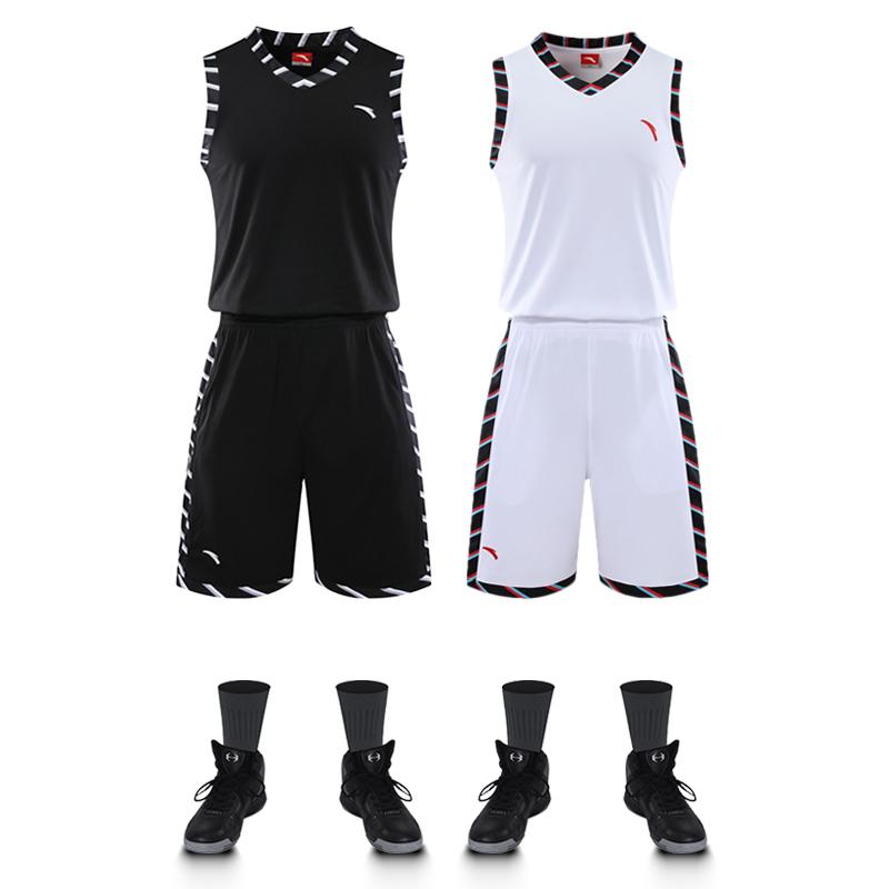安踏篮球服套装男球衣背心运动训练要疯比赛蓝球队服可定制印字号