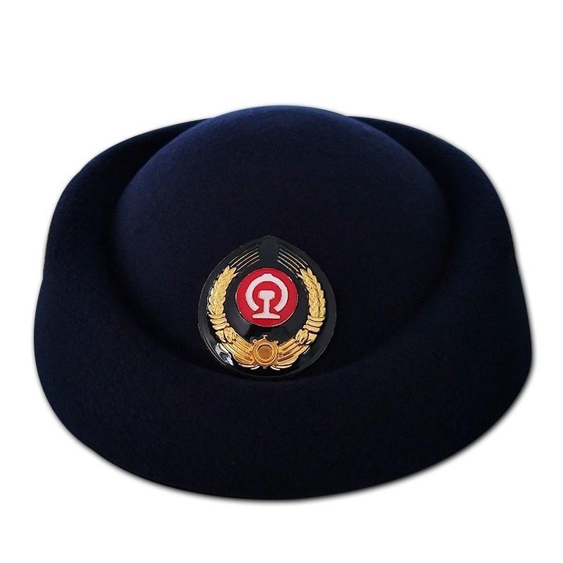 高铁动车乘务员列车员帽子铁路女帽礼仪帽铁路学校学员红色船形帽