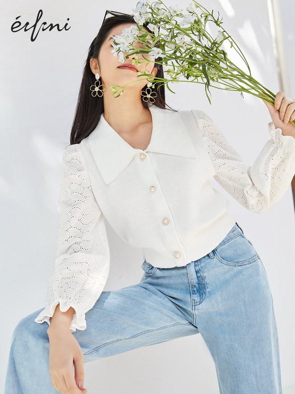 2021春装伊芙丽针织衫女绣花拼接假两件套头珍珠扣春装短上衣