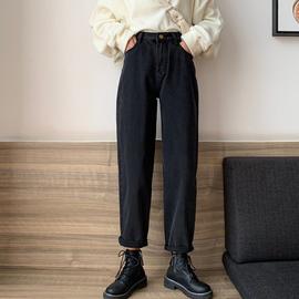 秋冬加绒牛仔裤女直筒宽松2020年新款显瘦胖妹妹胯大腿粗烟管裤子