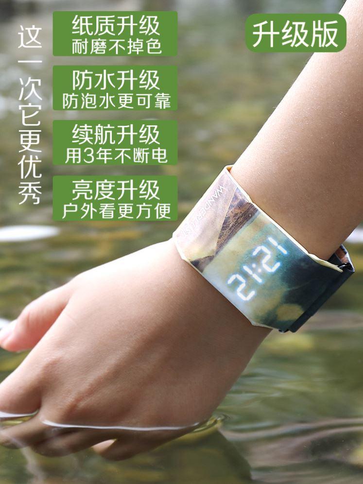 抖音新型纸质手表paprswatch中国版男女创意智潮能黑科技纸环防