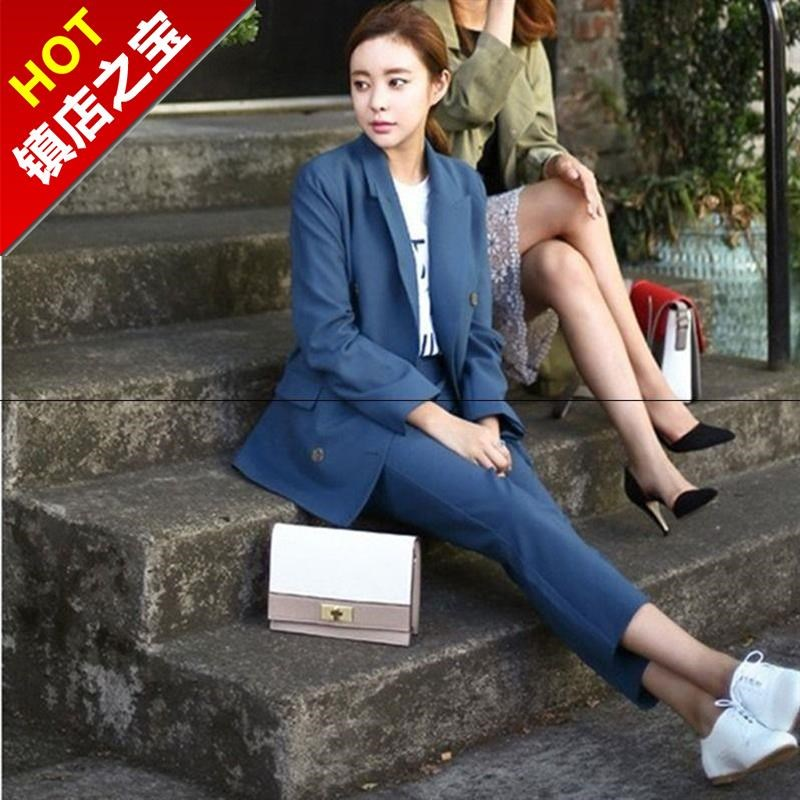 Double breasted fashion leisure western a suit womens Korean version spring 2019 new professional loose slim suit