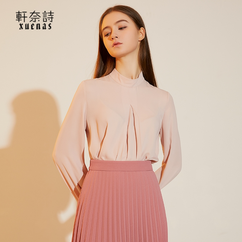 Spring 2021 new style half high Collar Chiffon shirt temperament fashion western style age reducing base womens long sleeve shirt