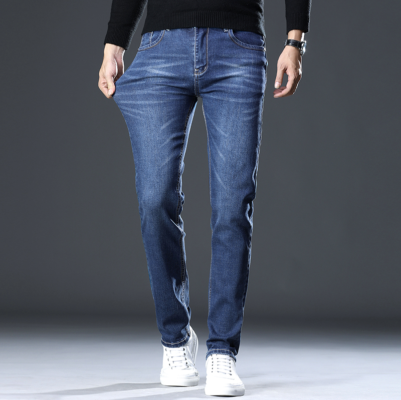Loose autumn mens new straight jeans mens black mens slim casual elastic spring and autumn jeans