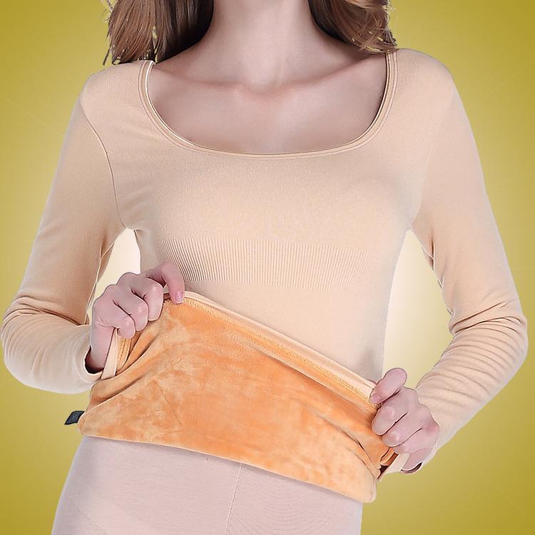超厚保暖衣内衣女加厚加绒紧身低领美体冬季打底衫秋衣单件上衣