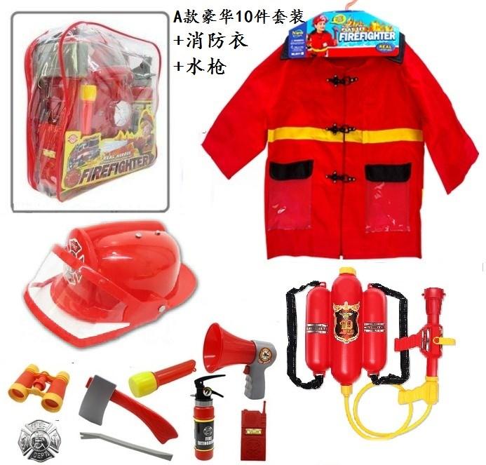 。子供消防士のサム役で、道具のヘルメットと消防玩具を演じています。