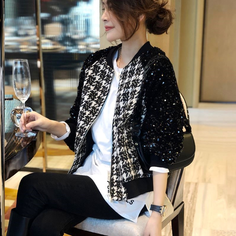 Black Plaid short Baseball Jacket Womens western style Sequin sleeve jacket spring and autumn 2021 new European station