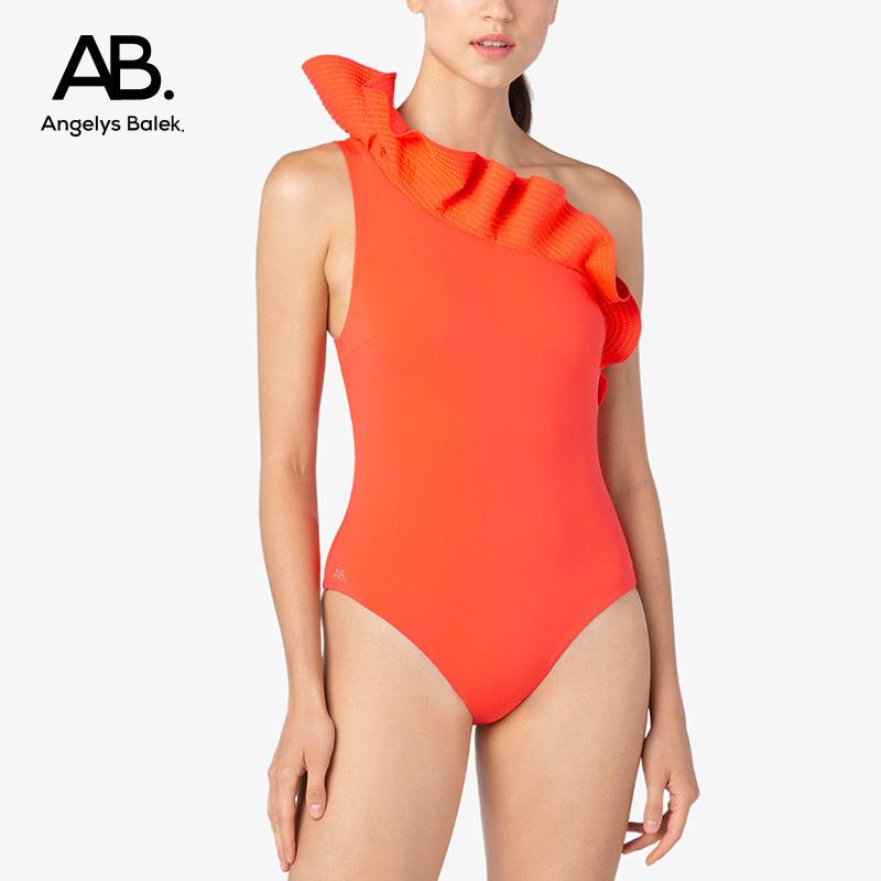 Angelys balek one piece swimsuit Thai designer ab. light luxury one shoulder lotus leaf swimsuit womens summer new style