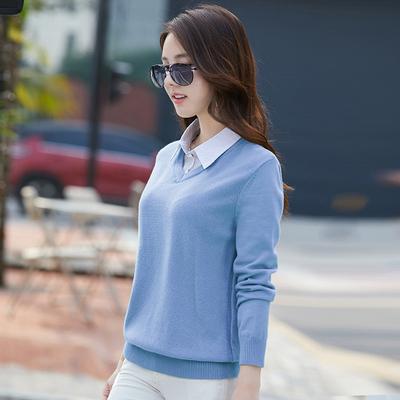 女装假两件有领毛衣套头针织衫韩版宽松百搭外穿型上衣2020秋冬季