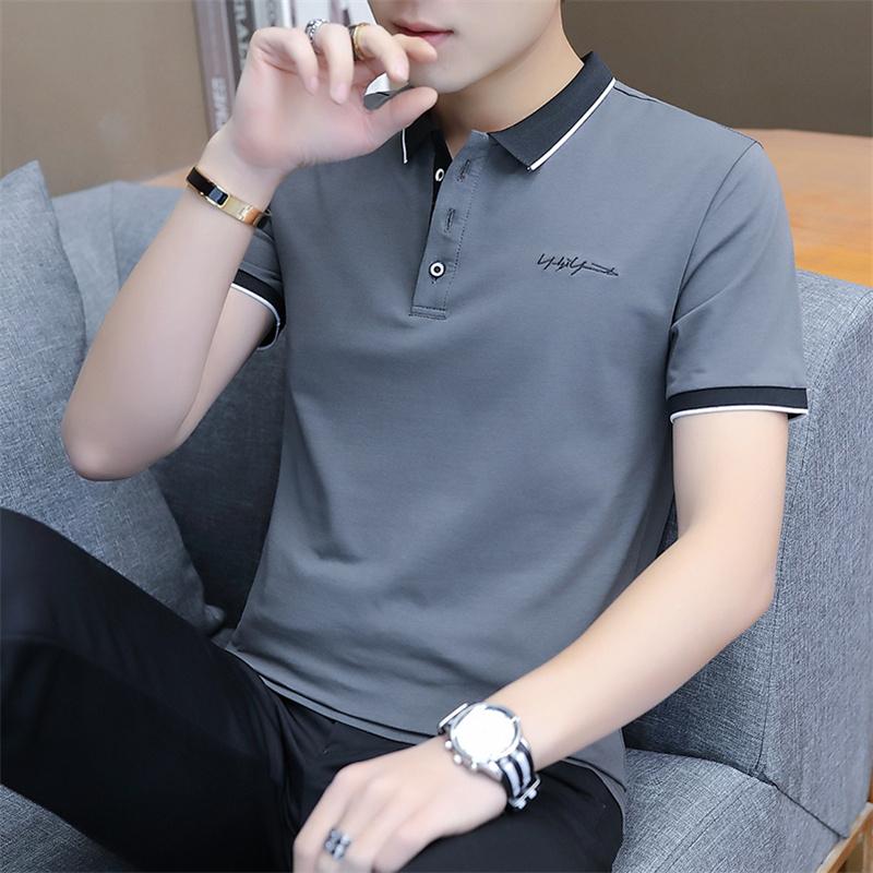 2021新款夏季半袖男士短袖T恤男装潮流纯棉青中年上衣服POLO衫