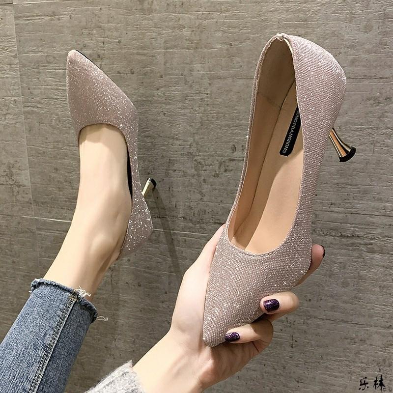 单鞋女春秋季新款尖头闪亮片新娘礼服伴娘鞋仙女风时尚细跟高跟鞋