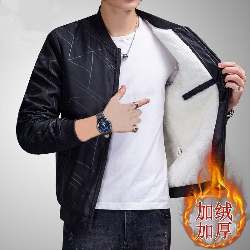 外套男士秋冬季加绒加厚新款中青年休闲修身潮男装上衣夹克衣服男