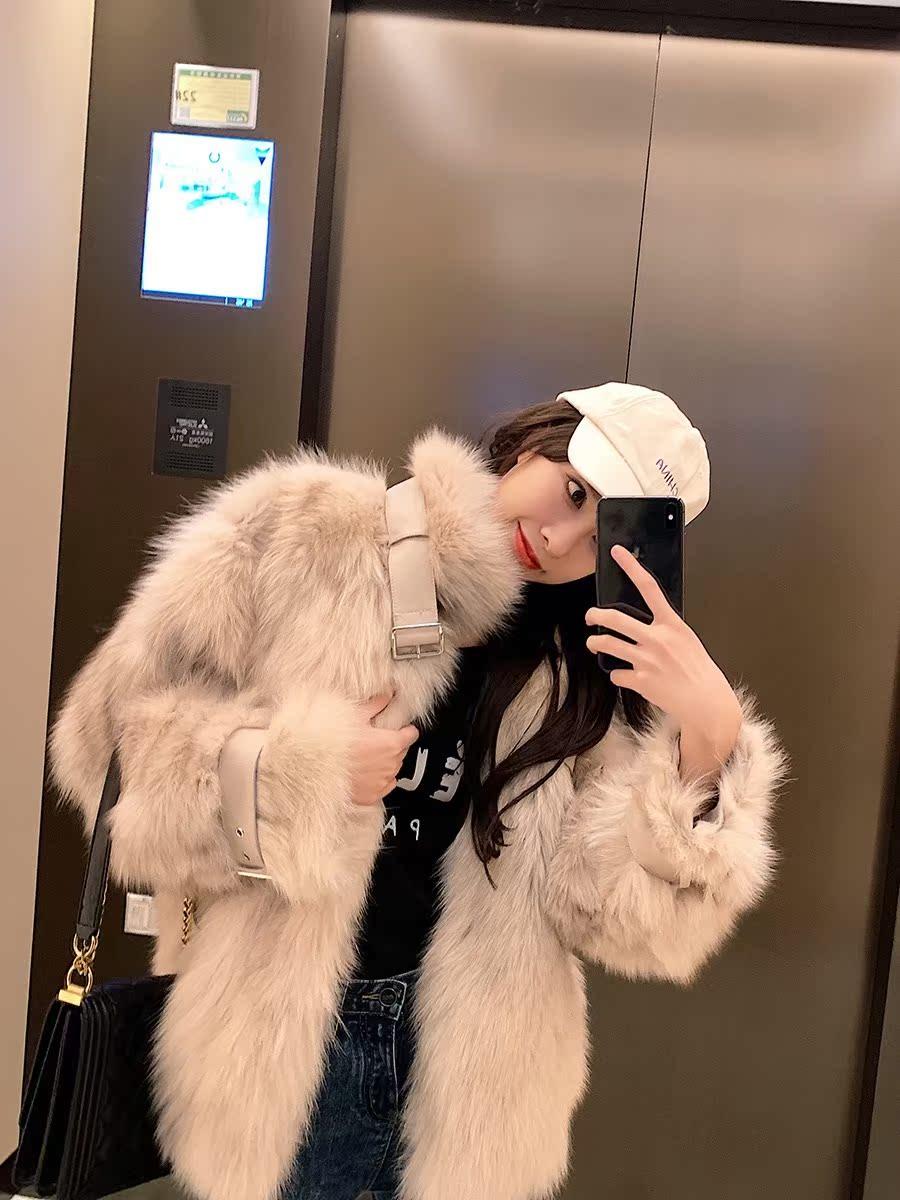 韩国皮草外套女秋冬新款加厚中长款宽松显瘦皮毛一体机车服大衣潮