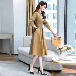长袖衬衫连衣裙女春秋2020年新款休闲气质时尚收腰显瘦中长款裙子