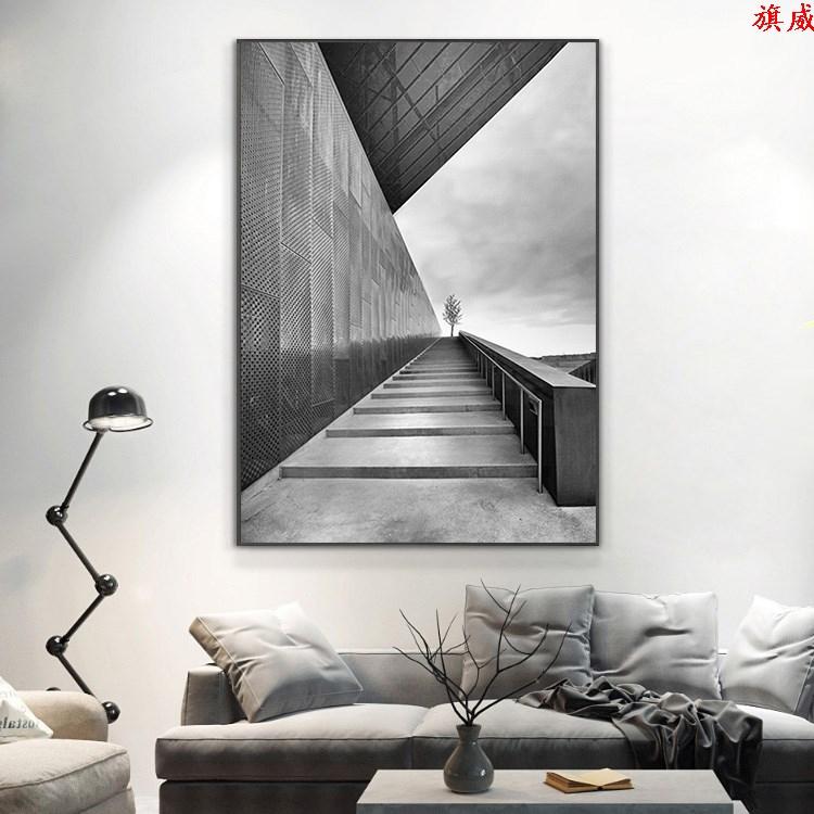 大幅黑白灰工业风轻奢装饰画意式北欧极简空间延伸感挂画客餐厅画