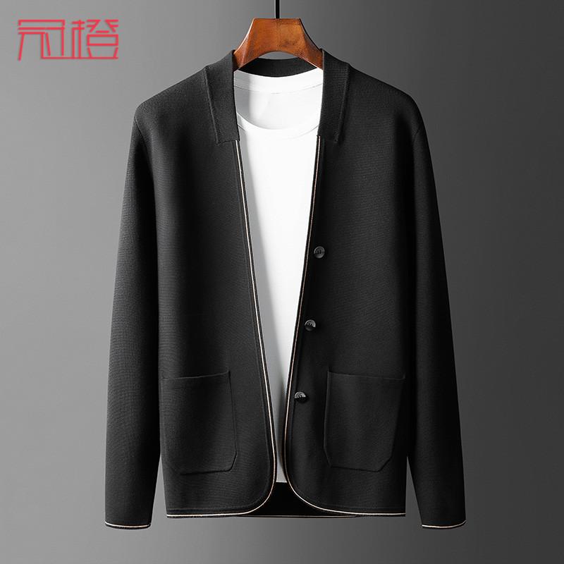 Guan orange 2020 autumn mens jacket cardigan knitwear plain casual sweater mens thin autumn coat