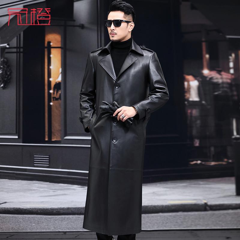 冠橙海宁真皮皮衣长款皮风衣男士外套超长绵羊皮西装领大衣
