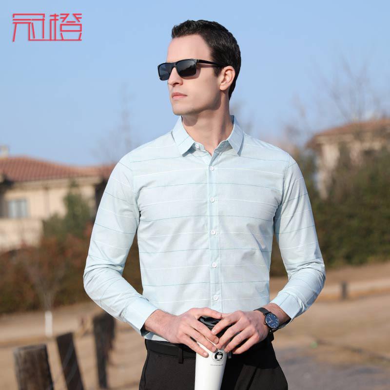 Guan orange 2020 spring and autumn shirt mens long sleeve business Korean version trend stripe middle aged shirt fashion top