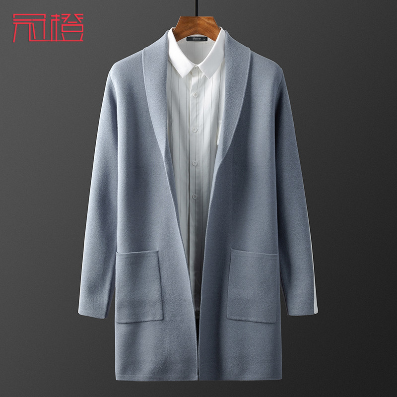 Crown orange mens cardigan T-Shirt Medium length color contrast Lapel spring and autumn sweater mens traceless coat slim coat