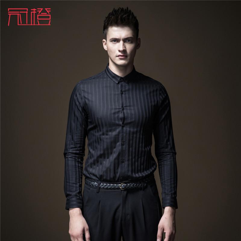 2020秋季新款男装修身方领条纹长袖衬衫上衣时尚潮流休闲商务