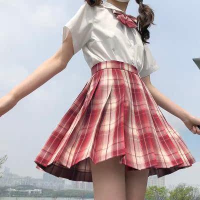 【糖时校舍】草莓可爱多 原创设计品质JK制服裙百褶裙格裙夏季女