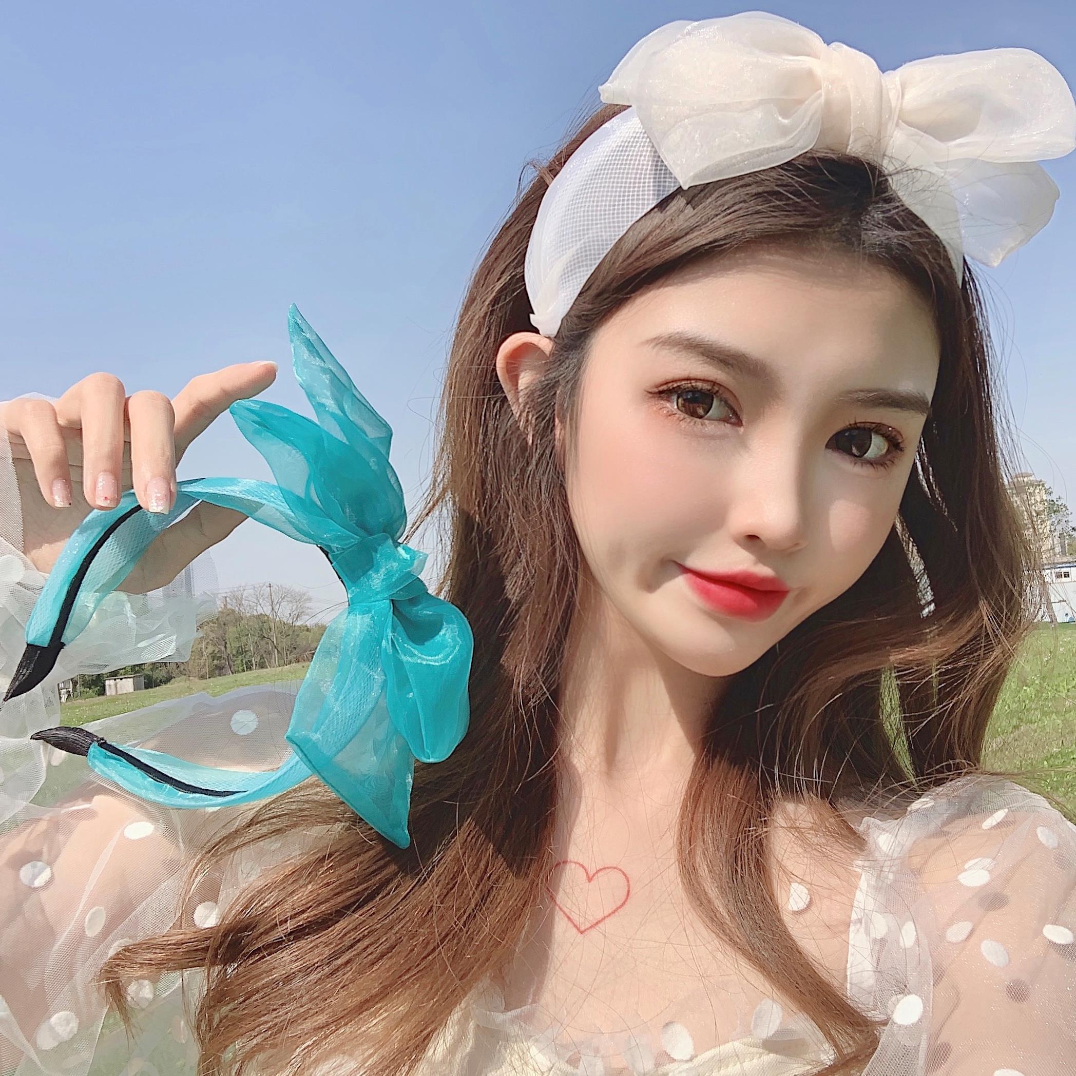 Department of super fairy hair net red summer blue versatile forest girl go out big bow Korean hair band fairy hair band