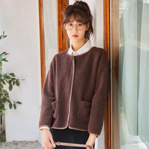 秋冬季高品质羊羔绒毛外套修身休闲上衣女装