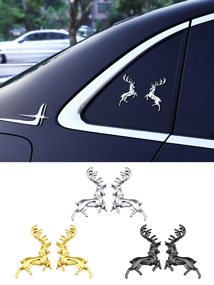 Power game family Logo Car Stickers deer family elk safe journey decorative metal car logo side logo creative car stickers