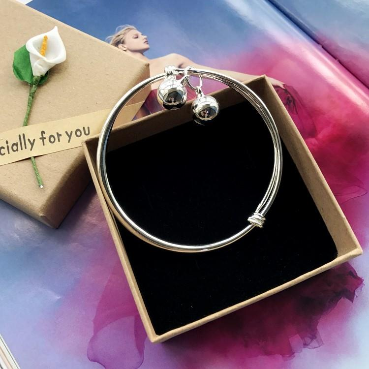 New Korean version small bell Bracelet Silver Fashion Anklet girl smooth face simple and versatile temperament foot ring