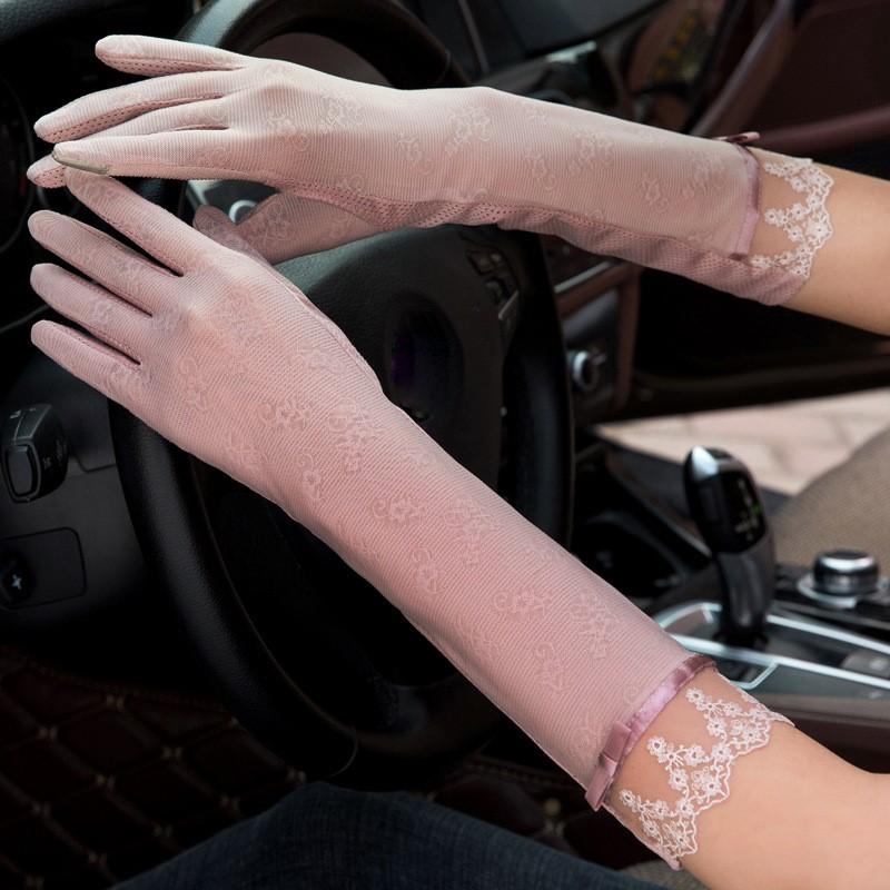 冰袖手套一体连指防嗮手套夏季紧蕾丝开车神器小车长袖