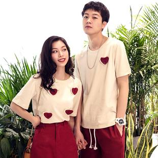 情侣装夏装套装连衣裙INS气质爱心拼接小众设计感百搭短袖学生T恤