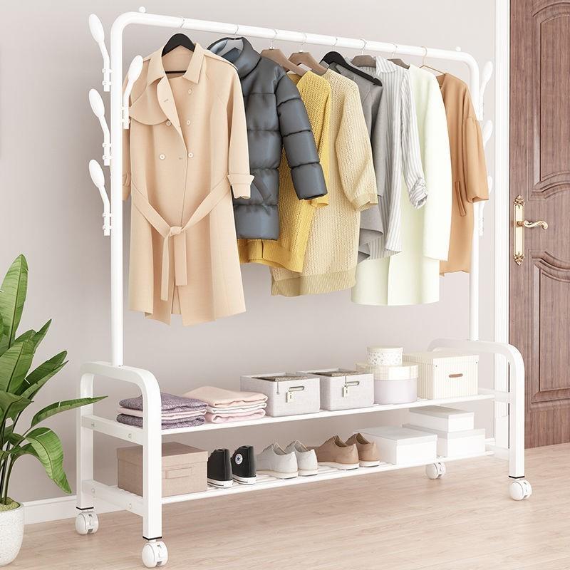 单杆式晾衣架落地简易晾衣杆家用卧室晒衣架折叠室内挂衣服架子69