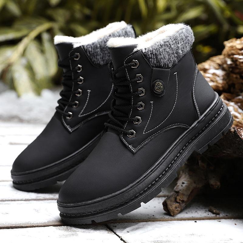 冬季雪地靴男士加绒加厚高帮棉鞋短靴马丁靴