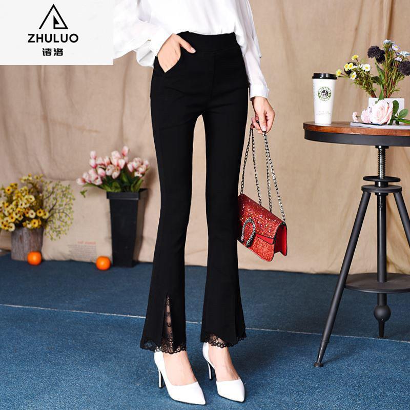 2021新款女裤喇叭裤蕾丝边裤子女韩版弹力显瘦妈妈女黑色九分长裤