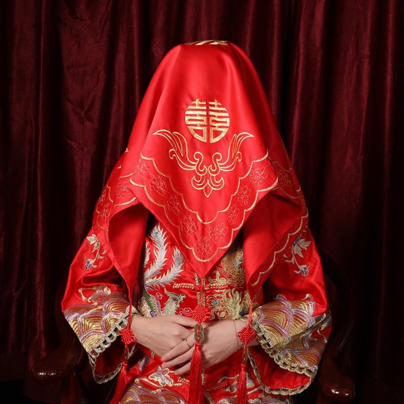 2021 Red Hijab Bride Chinese Embroidery Flower Wedding Tassel Hijab Hipa Longfeng Turban Wedding Supplies