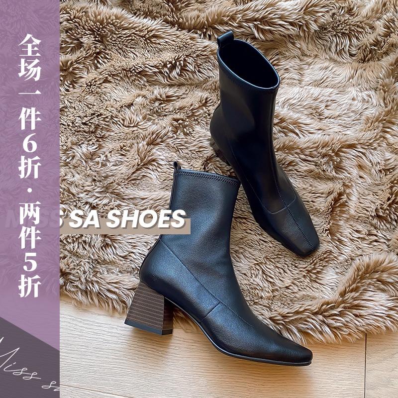 飒小姐2020春秋新款经典真皮复古方头粗跟拉链时尚网红瘦靴子女
