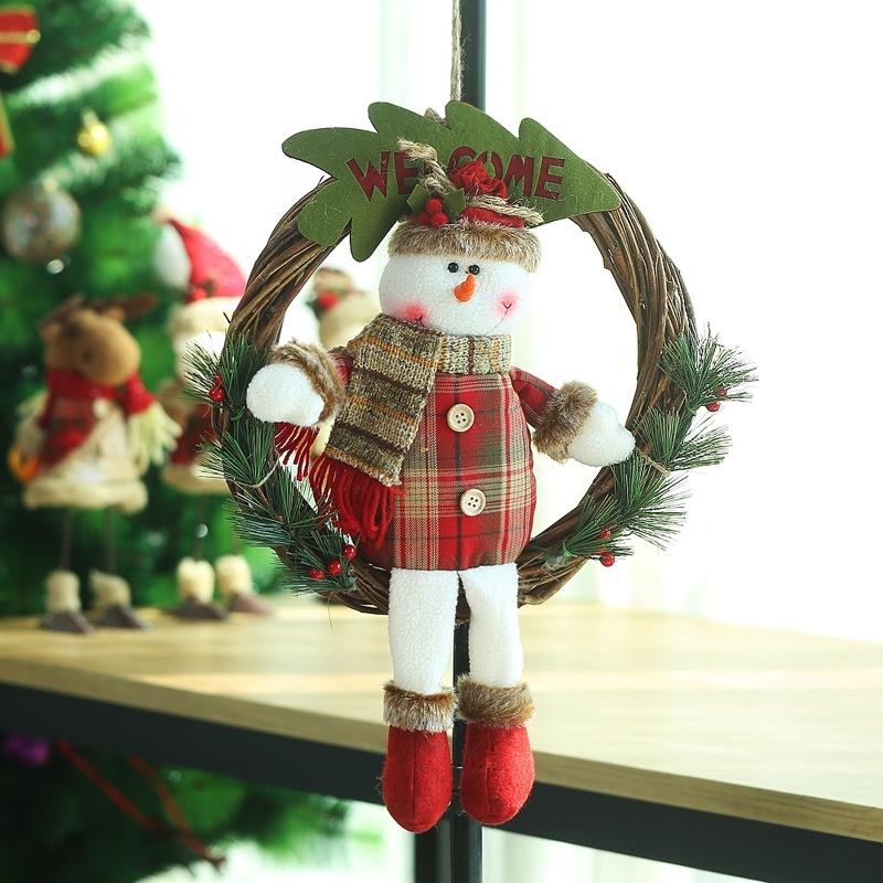 圣诞装饰品老人雪人藤条花环门饰藤圈挂件圣诞礼品商场橱窗挂件