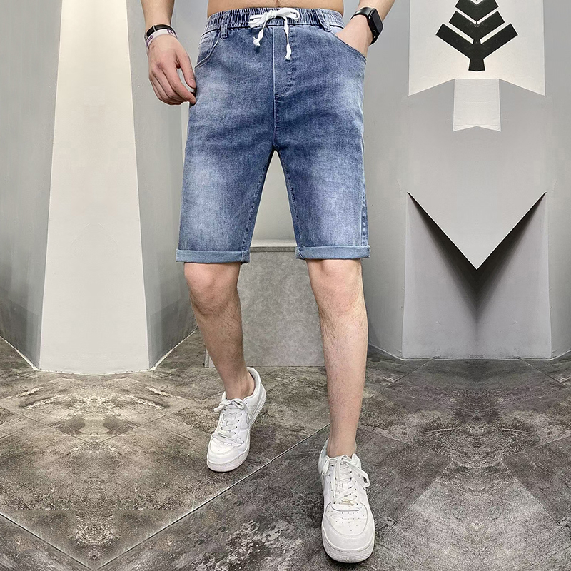 Mens thin elastic jeans shorts in summer 2021